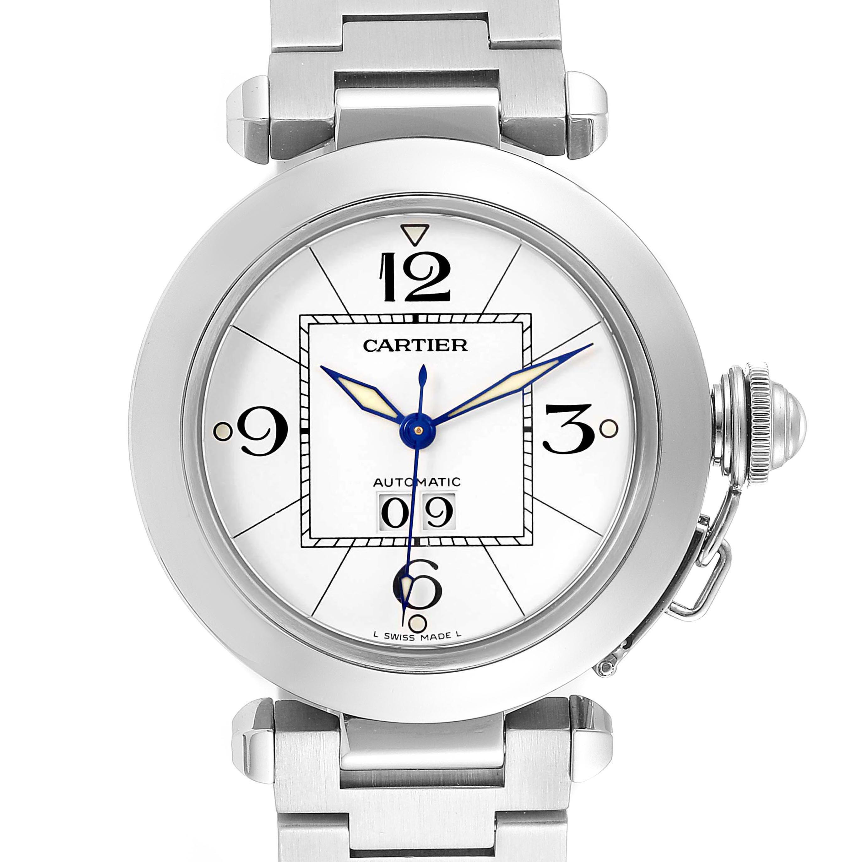 Cartier Pasha C Midsize White Dial Automatic Steel Watch W31044M7 SwissWatchExpo