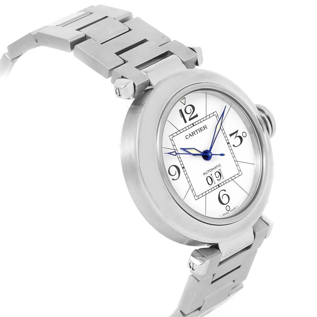 20756 Cartier Pasha C Midsize White Dial Automatic Steel Watch W31044M7 SwissWatchExpo