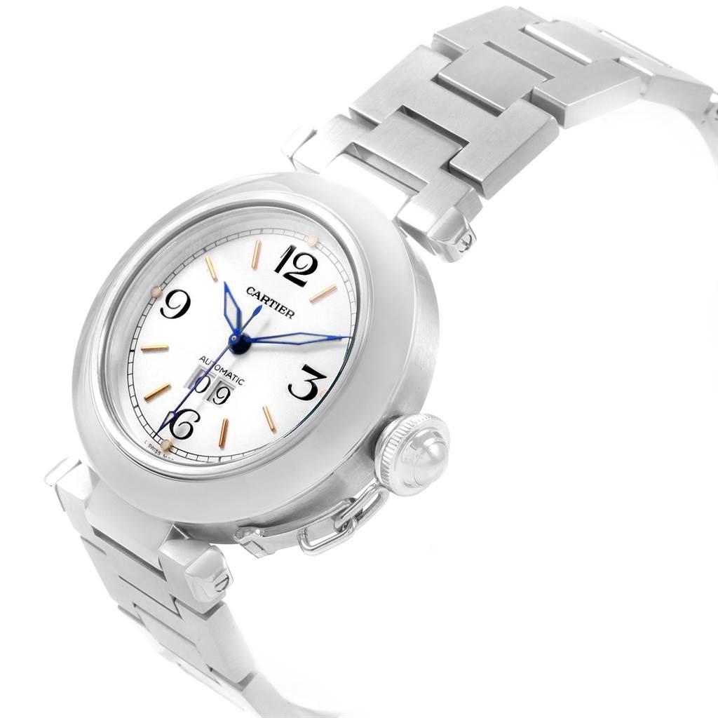 20757 Cartier Pasha C Midsize 35mm Big Date Sainless Steel Watch W31044M7 SwissWatchExpo