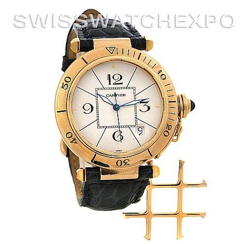 2480 Cartier Pasha C Grid 18k Yellow Gold 38mm Watch SwissWatchExpo