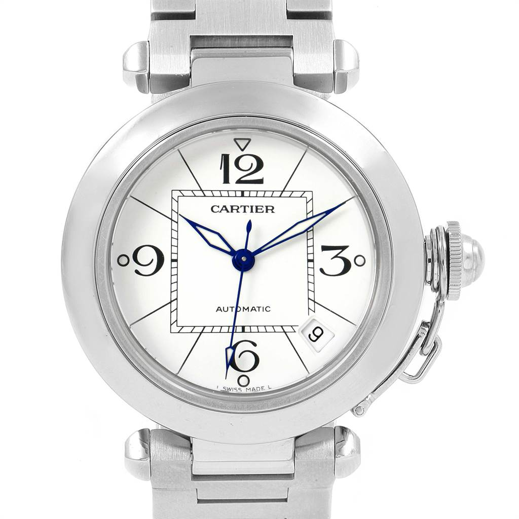 11116 Cartier Pasha C 35 White Dial Stainless Steel Unisex Watch W31074M7 SwissWatchExpo