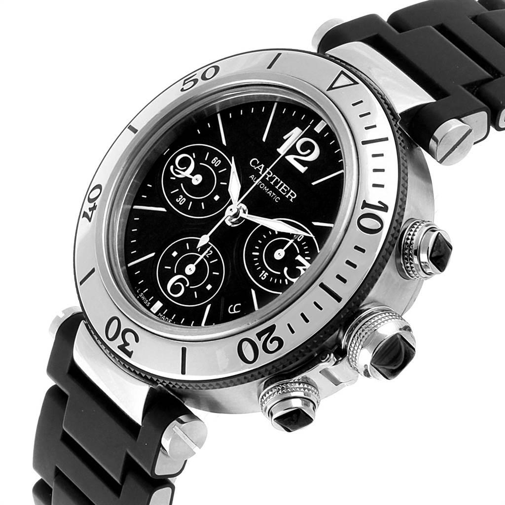22310 Cartier Pasha Seatimer Chronograph Rubber Strap Watch W31088U2 Box SwissWatchExpo