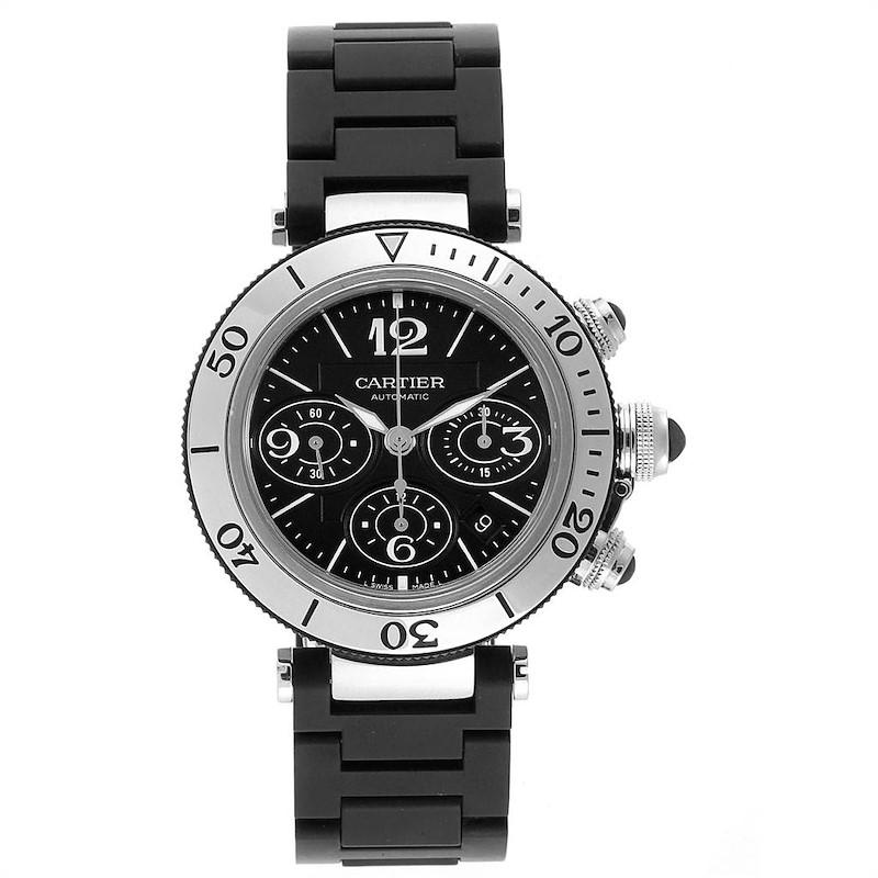 Cartier Pasha Seatimer Chronograph Rubber Strap Watch W31088U2 Box SwissWatchExpo