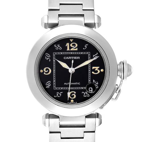 Cartier Pasha C Midsize 35mm Black Dial Steel Mens Watch W31043M7