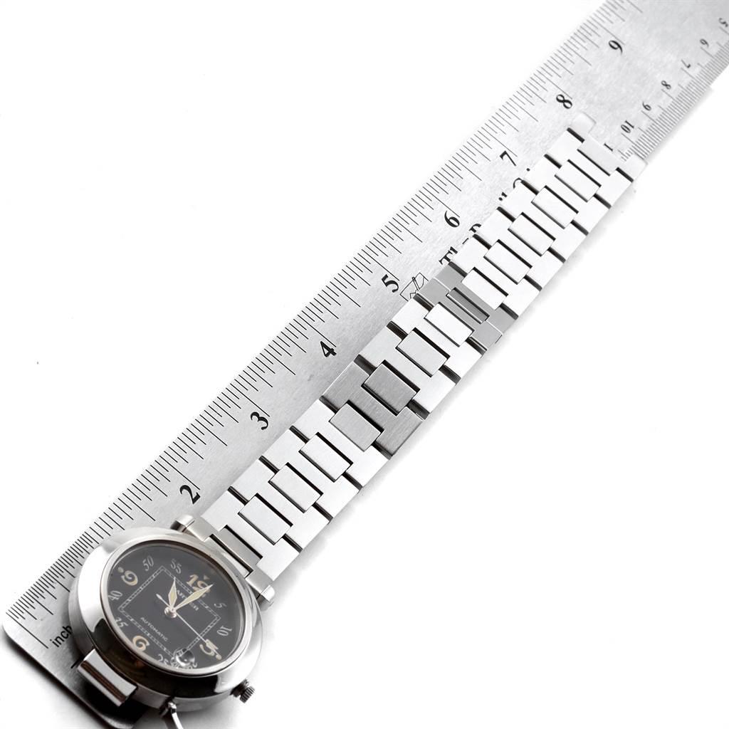19307 Cartier Pasha C Midsize 35mm Black Dial Steel Mens Watch W31043M7 SwissWatchExpo