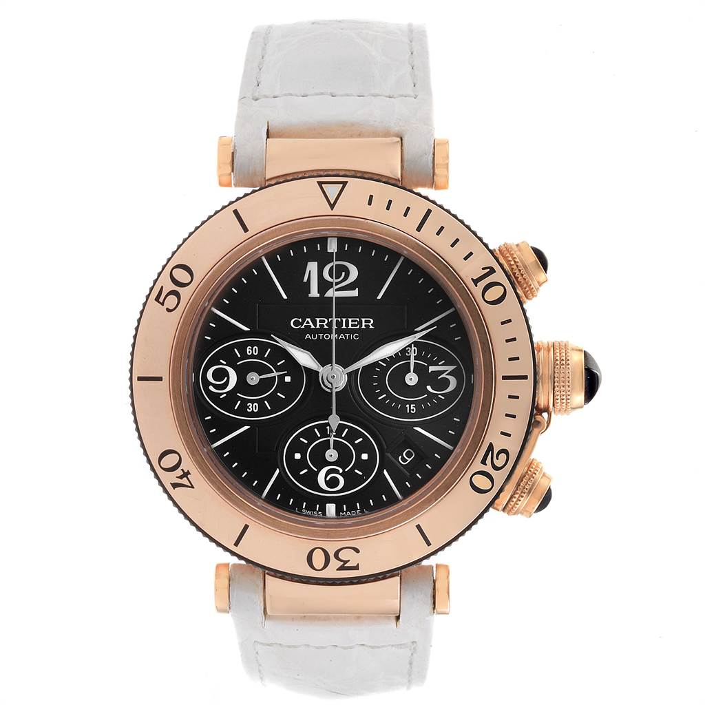 Cartier Pasha Rose Gold Black Dial Chronograph Mens Watch W3030018 SwissWatchExpo