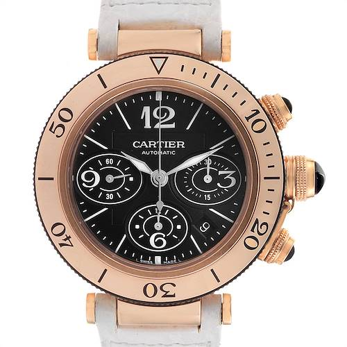 Photo of Cartier Pasha Rose Gold Black Dial Chronograph Mens Watch W3030018