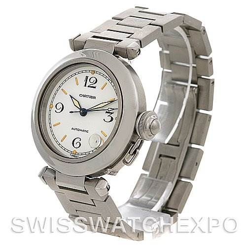 2423 Cartier Pasha C Men's Steel Watch Silver Dial W31074m7 SwissWatchExpo