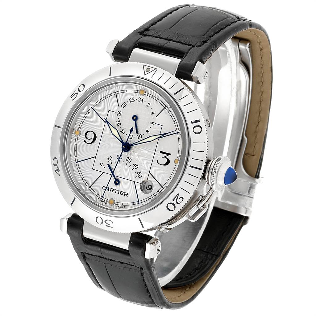 16436 Cartier Pasha Power Reserve GMT Mens Steel Watch W3103755 SwissWatchExpo
