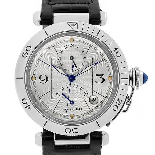 Photo of Cartier Pasha Power Reserve GMT Mens Steel Watch W3103755