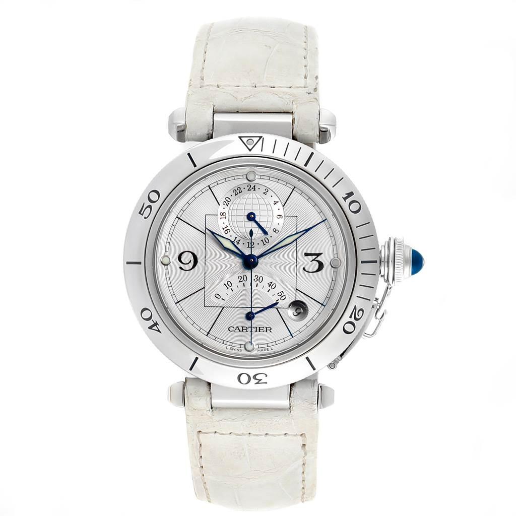 11575x Cartier Pasha Power Reserve GMT Mens Steel Watch W3103755 SwissWatchExpo