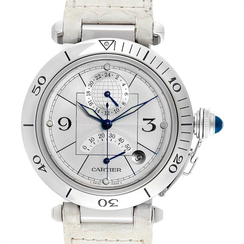 Cartier Pasha Power Reserve GMT Mens Steel Watch W3103755 SwissWatchExpo