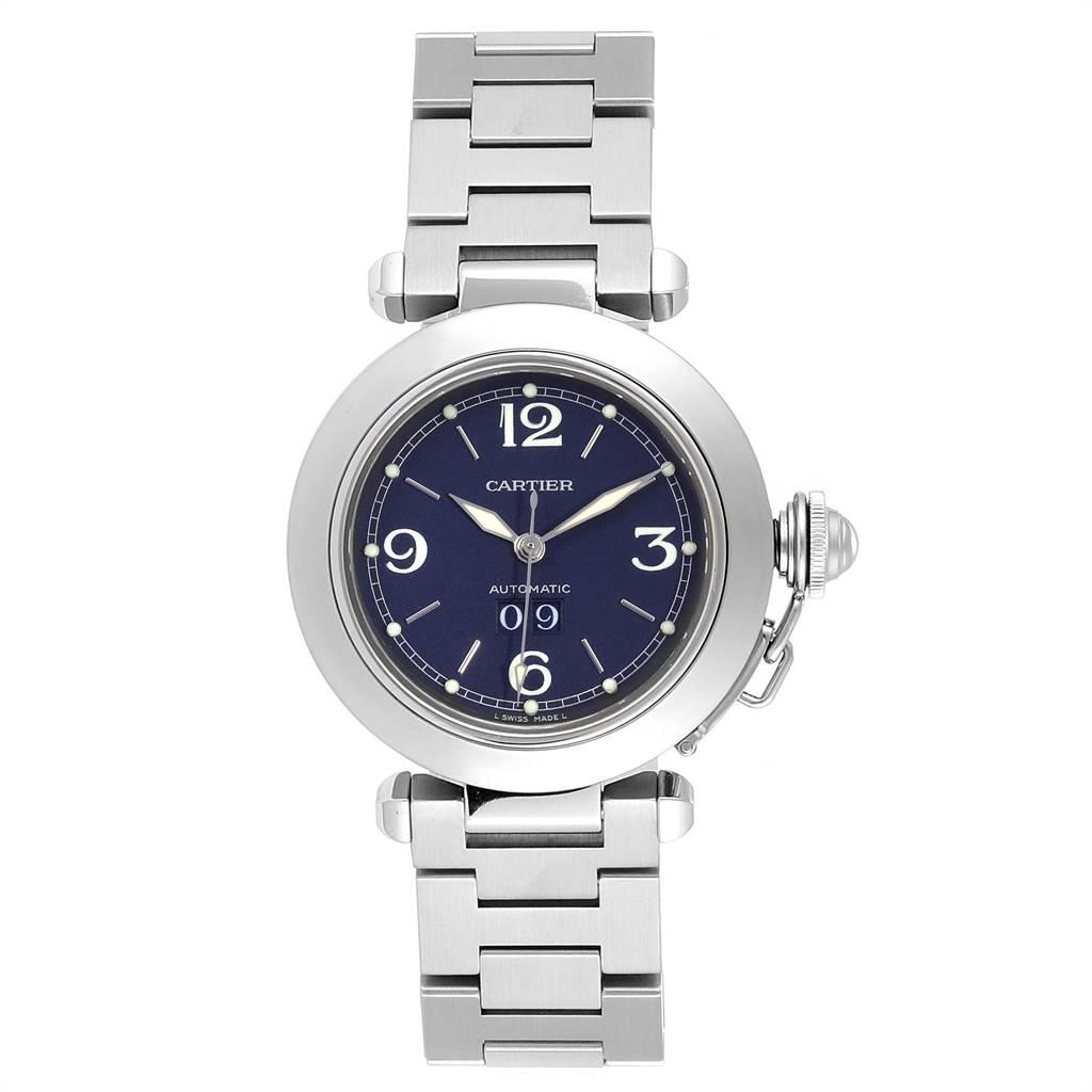 Cartier Pasha C 35 Blue Dial Automatic Steel Mens Watch W31047M7 SwissWatchExpo