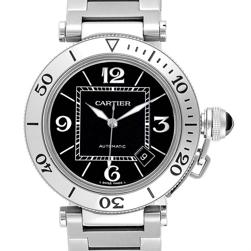23657 Cartier Pasha Seatimer Black Dial Automatic Mens Watch W31077M7 SwissWatchExpo