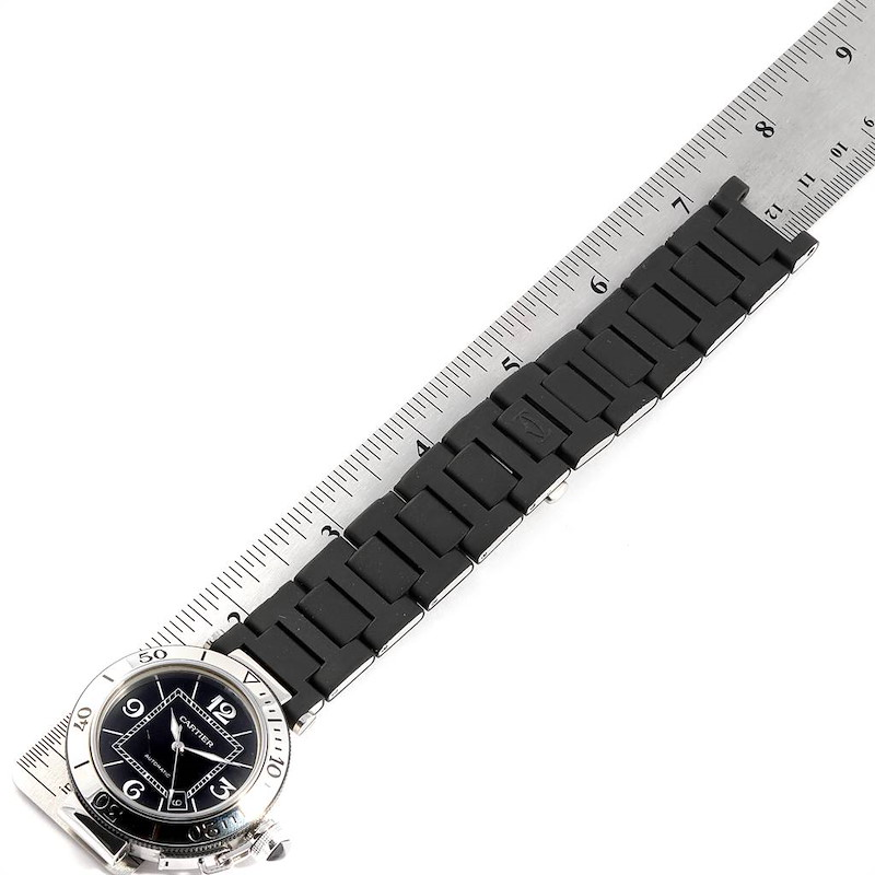 Cartier Pasha Seatimer Rubber Strap Steel Mens Watch W31077U2 SwissWatchExpo