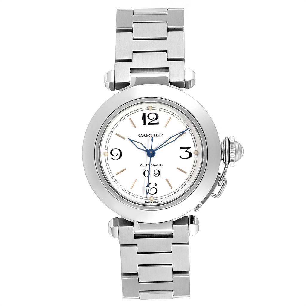 Cartier Pasha C Midsize 35mm Big Date Automatic Steel Watch W31044M7 SwissWatchExpo