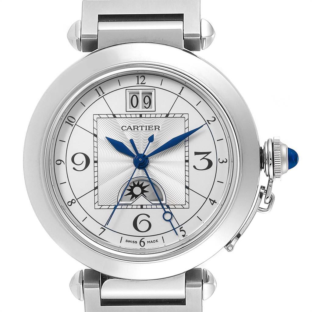 24511 Cartier Pasha XL Big Date MoonPhase Steel Mens Watch W31093M7 SwissWatchExpo