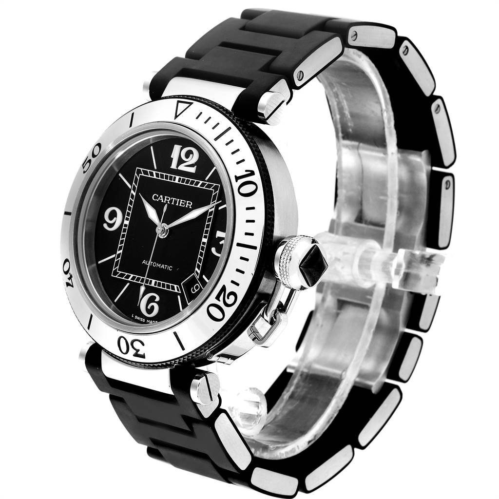 Cartier Pasha Seatimer Black Rubber Strap Steel Mens Watch W31077U2 SwissWatchExpo