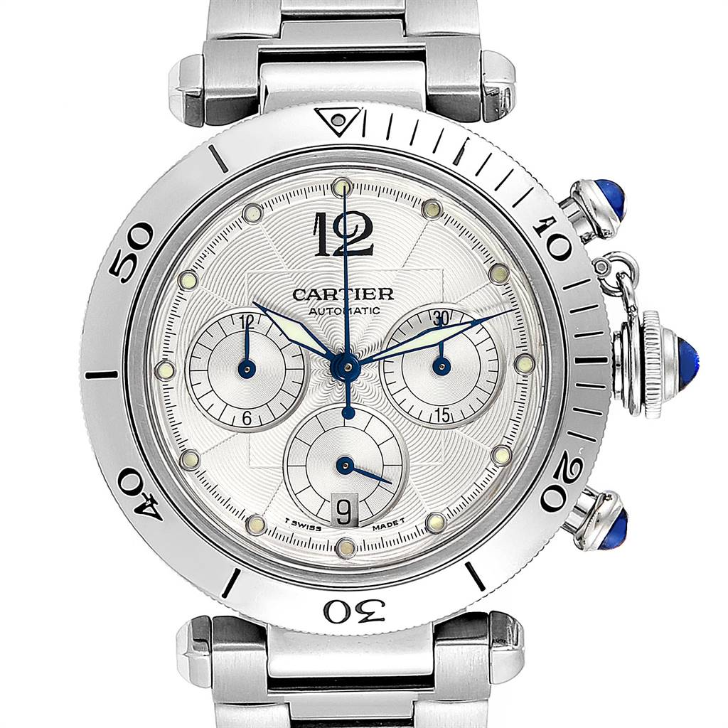 4490X Cartier Pasha Seatimer Chronograph Steel Mens Watch W31030H3 SwissWatchExpo
