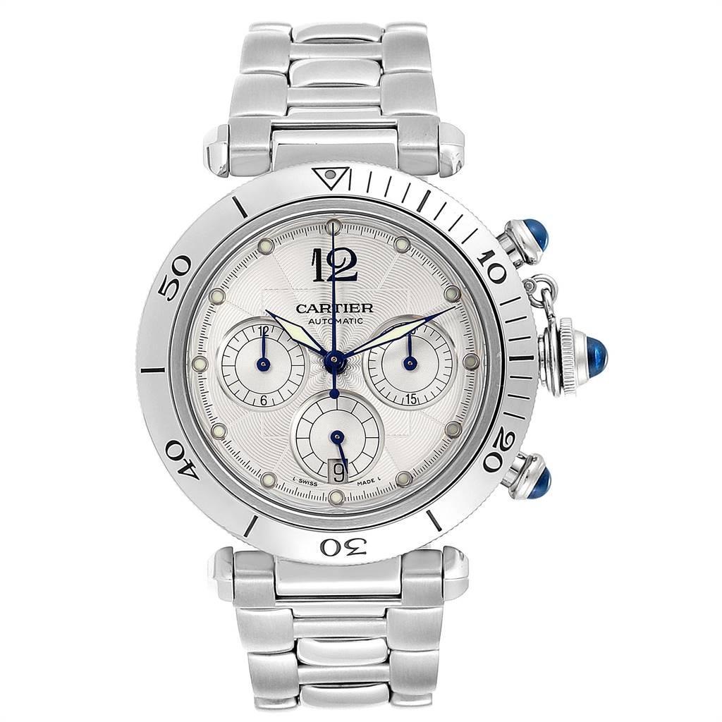 24285 Cartier Pasha Seatimer Chronograph Steel Mens Watch W31030H3 SwissWatchExpo