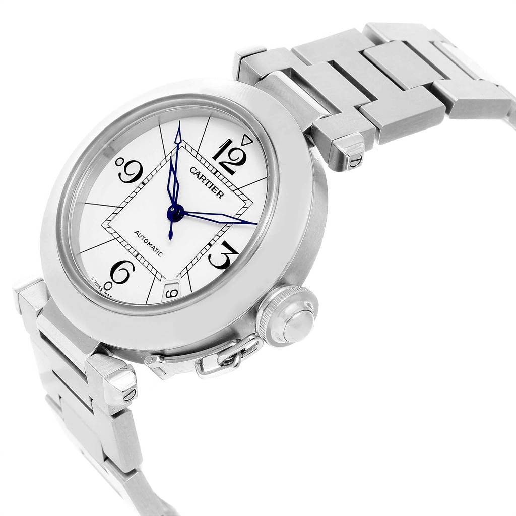 Cartier Pasha C White Dial Automatic Steel Unisex Watch W31074M7 SwissWatchExpo
