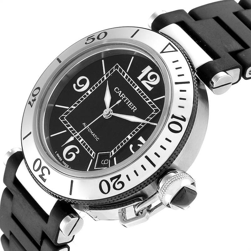 Cartier Pasha Seatimer Black Rubber Strap Steel Mens Watch W31077U2 SwissWatchExpo