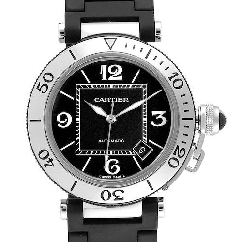 Cartier Pasha Seatimer Black Rubber Strap Steel Mens Watch W31077U2