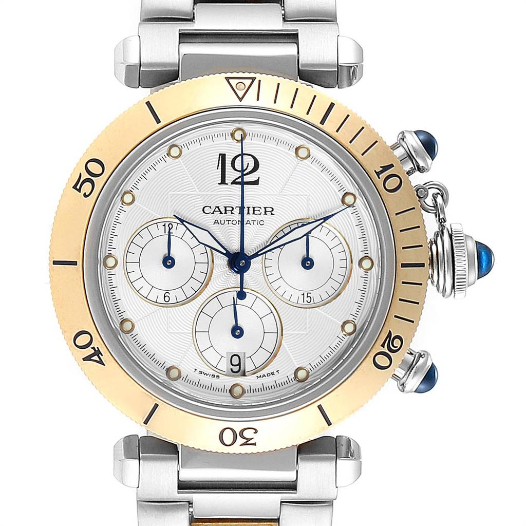 Cartier Pasha 38mm Chronograph Steel Yellow Gold Mens Watch W31036T6 SwissWatchExpo