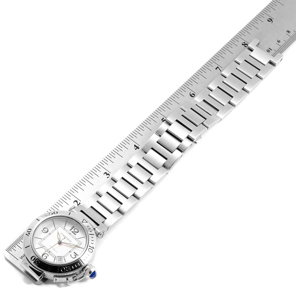 Cartier Pasha Seatimer Stainless Steel Silver Dial Mens Watch W31080M7 SwissWatchExpo