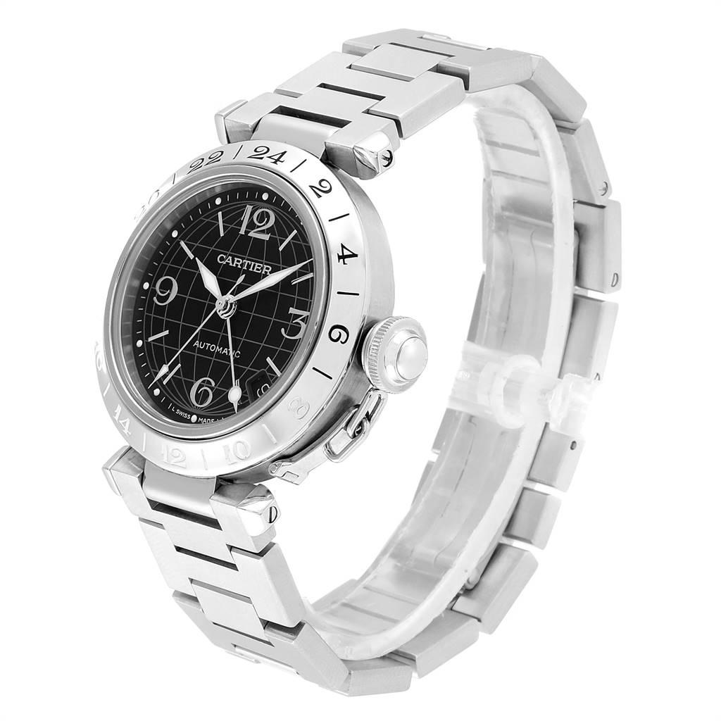 Cartier Pasha GMT 35mm Black Dial Steel Mens Watch W31049M7 SwissWatchExpo