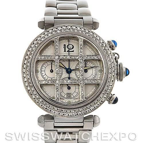 8cf8dcd043a85 Cartier Pasha C Grid 18k SS White Gold Diamond Watch 38 MM