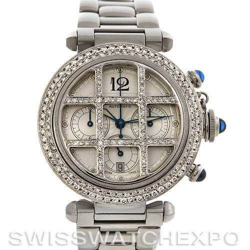 Photo of Cartier Pasha C Grid 18k SS White Gold Diamond Watch 38 MM