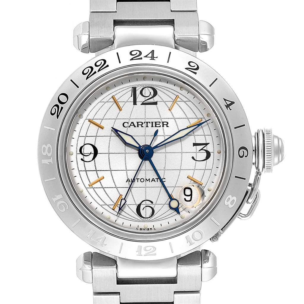 Cartier Pasha GMT 35mm Silver Dial Steel Mens Watch W31078M7