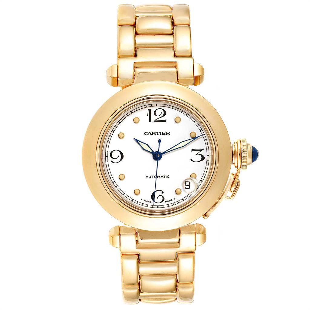 Cartier Pasha 35mm 18K yellow Gold Mens Watch WJ1110H9 SwissWatchExpo