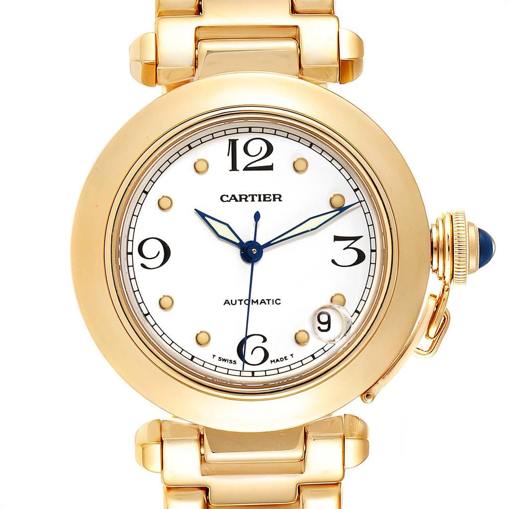 Cartier Pasha GMT 35mm 18K yellow Gold Mens Watch WJ1110H9