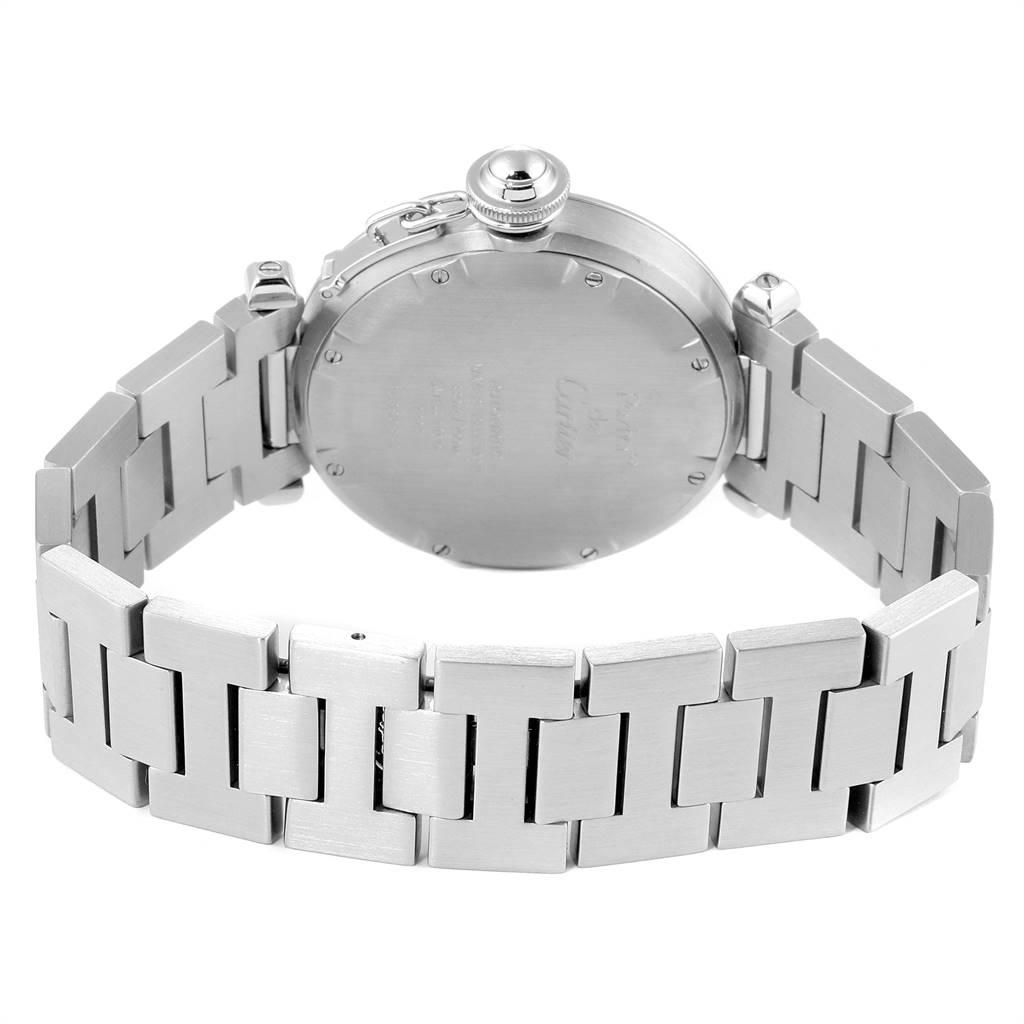 Cartier Pasha C Mens Steel Salmon Grid Dial Mens Watch W31024M7 SwissWatchExpo