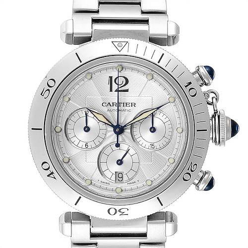 Photo of Cartier Pasha 38mm Chronograph Steel Mens Watch W31030H3