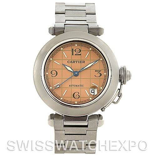 3073 Cartier Pasha C Automatic Steel Pink Dial W31075M7 Watch SwissWatchExpo