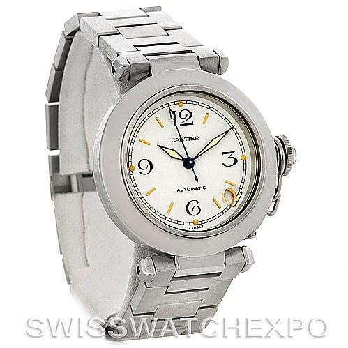 4333 Cartier Pasha C Midsize Steel Watch W31043M7 SwissWatchExpo