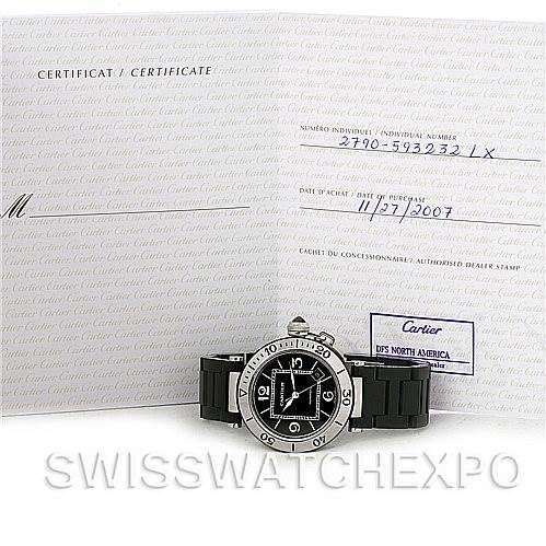 Cartier Pasha Seatimer Steel Rubber Mens Watch W31077U2 SwissWatchExpo