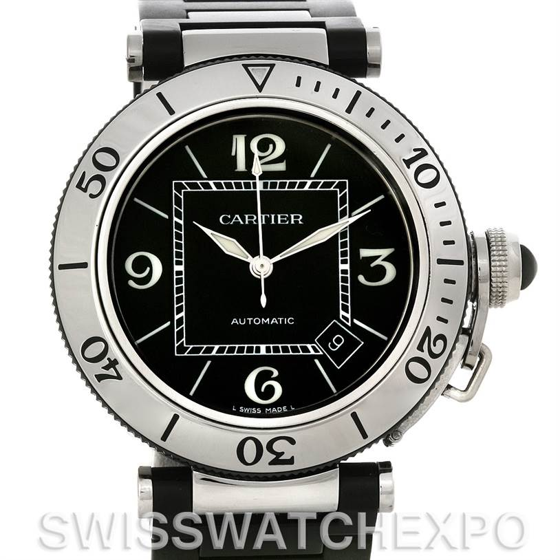 4557 Cartier Pasha Seatimer Steel Rubber Mens Watch W31077U2 SwissWatchExpo