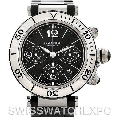 Cartier Pasha Seatimer Chronograph Mens Watch W31088U2 SwissWatchExpo