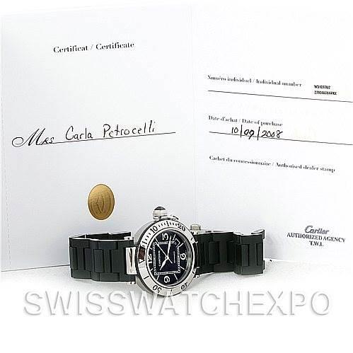 Cartier Pasha Seatimer Chronograph Mens Watch W31077U2 SwissWatchExpo