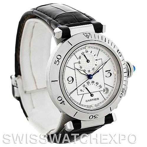 5178 Cartier Pasha Power Reserve Men's Steel Watch W31037H3 SwissWatchExpo