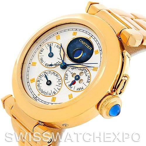 5627 Cartier Pasha Leap Year Perpetual Calendar 18K Yellow Gold Watch SwissWatchExpo