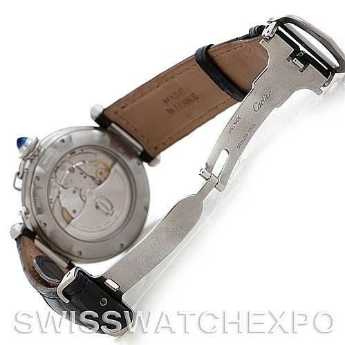 5364 Cartier Pasha Power Reserve Mens Steel Watch W31037H3 SwissWatchExpo