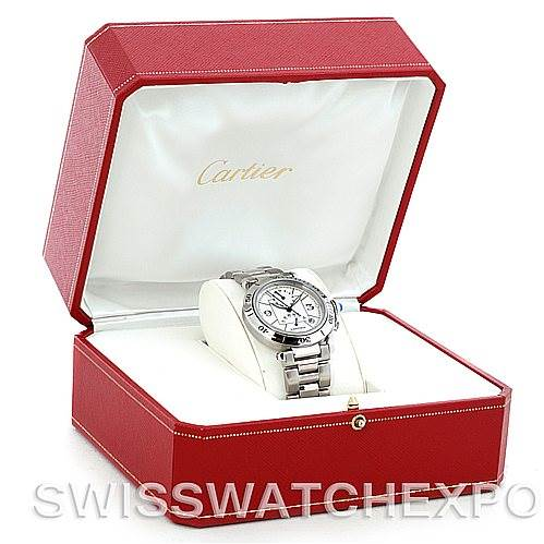 5662 Cartier Pasha Power Reserve Mens Steel Watch W31037H3 SwissWatchExpo