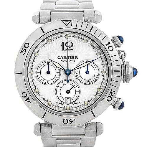 5844 Cartier Pasha Seatimer Chronograph Steel Mens Watch W31030H3 SwissWatchExpo