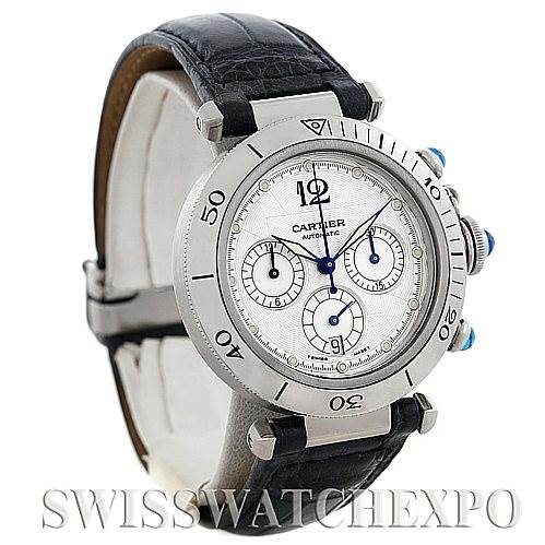 5876 Cartier Pasha Seatimer Chronograph Steel Mens Watch W3103055 SwissWatchExpo