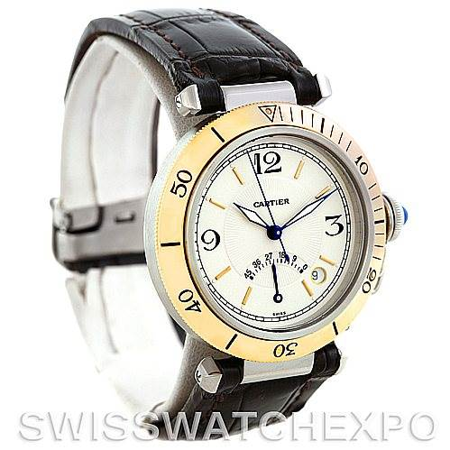 6022 Cartier Pasha Power Reserve Mens Steel and Gold Watch W3101255 SwissWatchExpo
